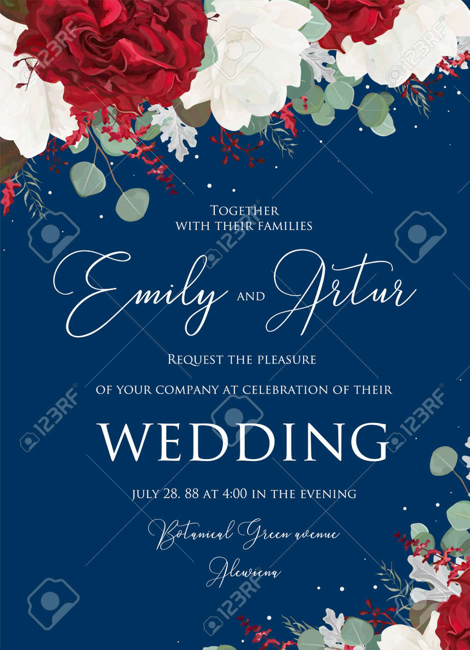 Wedding floral invite, invitation save the date card design with red and white garden rose flowers, seeded eucalyptus branches, leaves, amaranthus bouquet on navy blue background. Vector cute template - 95160890