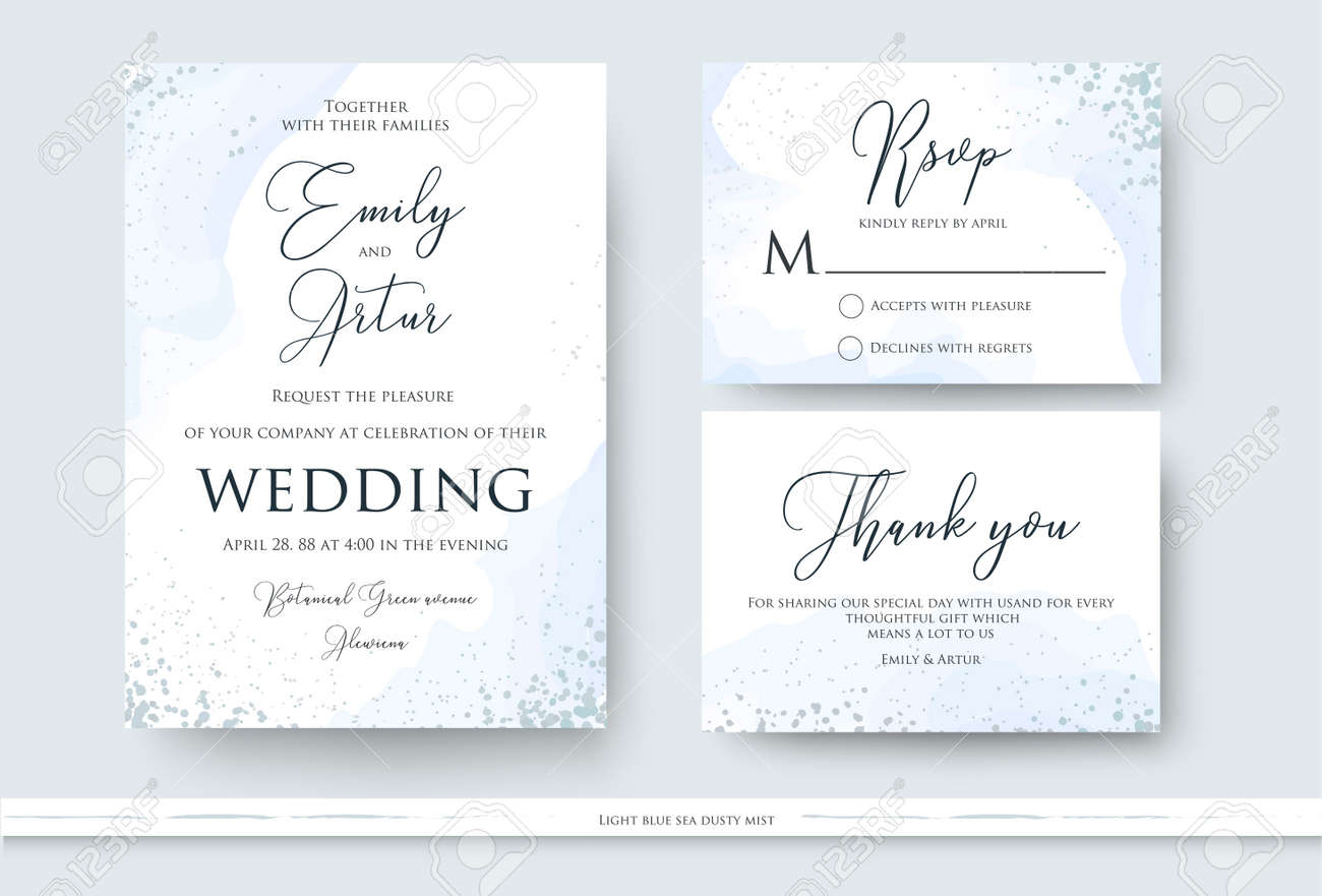 Wedding invite, thank you, rsvp card design set with abstract watercolor style decoration in light tender dusty blue color on white background. Vector trendy modern romantic art layout, template - 95160894