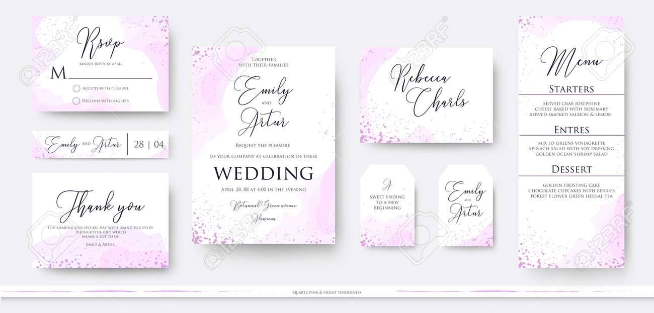 Wedding invite thank you, rsvp menu card design set with abstract watercolor decoration in light tender dusty pinkm rosy and violet color on white background. Vector trendy modern romantic art layout - 95160897