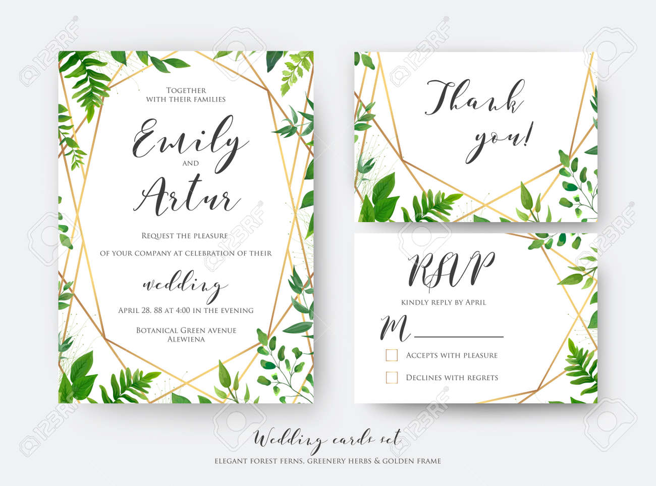 Wedding floral invite, invitation, rsvp, thank you card template set. Vector modern, botanical card design with green forest fern leaves, greenery herbs border with luxury Geometric decoration - 151790728