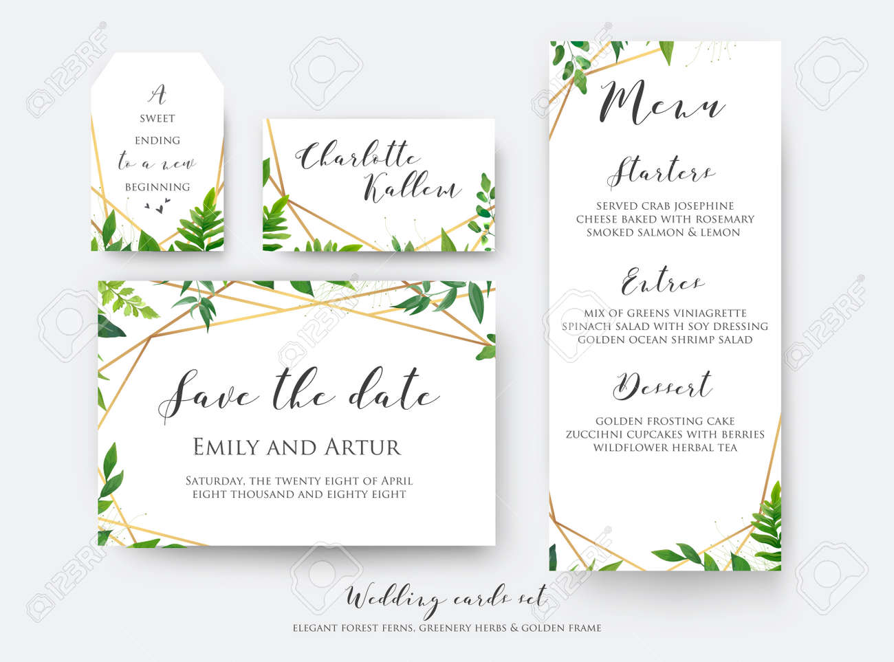 Wedding floral save the date, menu, place card & label template set. Vector modern, botanical card design with green forest fern leaves, greenery herbs border with luxury Geometrical golden decoration - 95558976