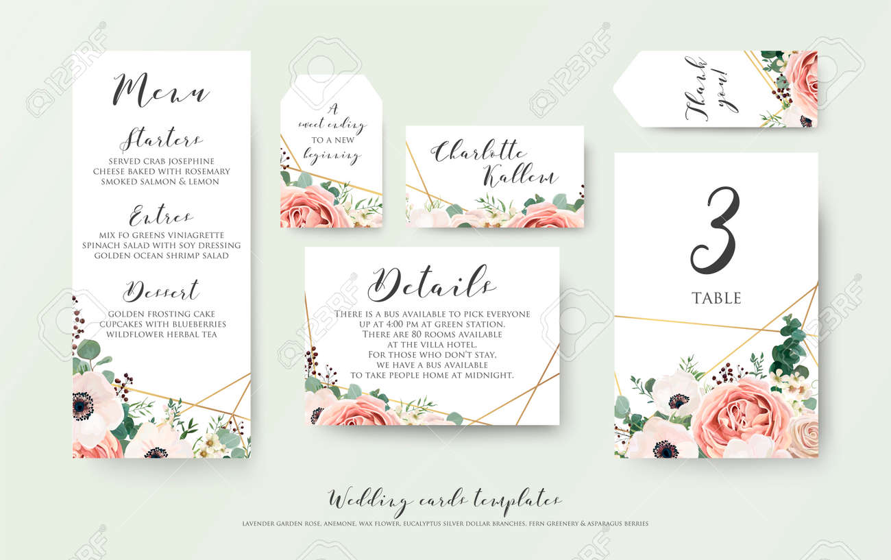 Wedding menu, information, label, table number and place card design with elegant lavender pink garden rose, anemone, wax flowers eucalyptus branches, leaves & cute golden pattern. Vector template set - 95558977