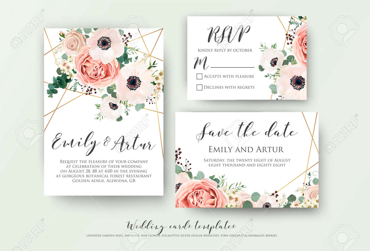 Wedding invite, invitation, rsvp, save the date card design with elegant lavender pink garden rose anemone, wax flowers eucalyptus branches leaves, cute golden geometrical pattern. Vector template set - 95651445