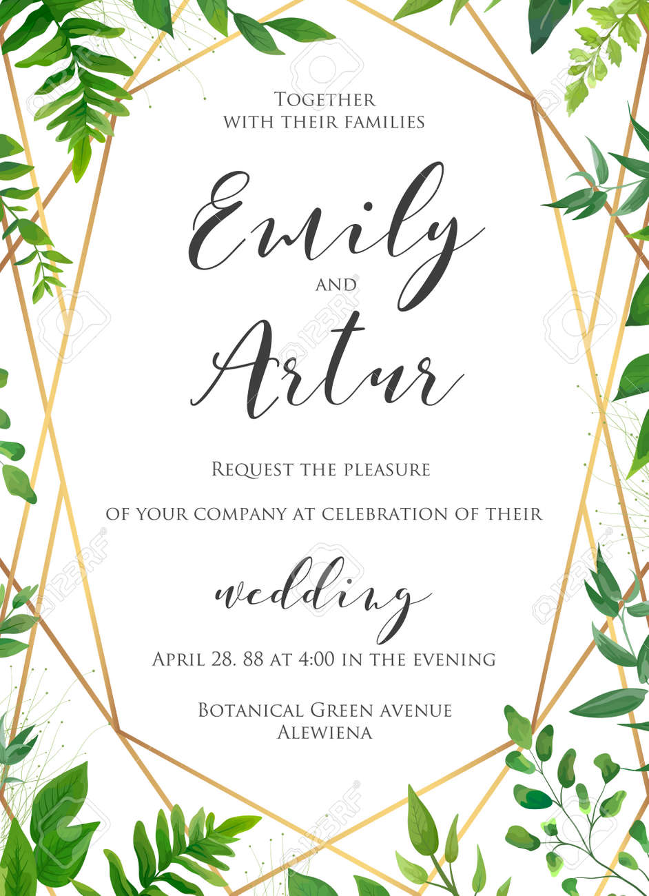 Natural Botanical Wedding Invitation, Invite, Save The Date Template ...