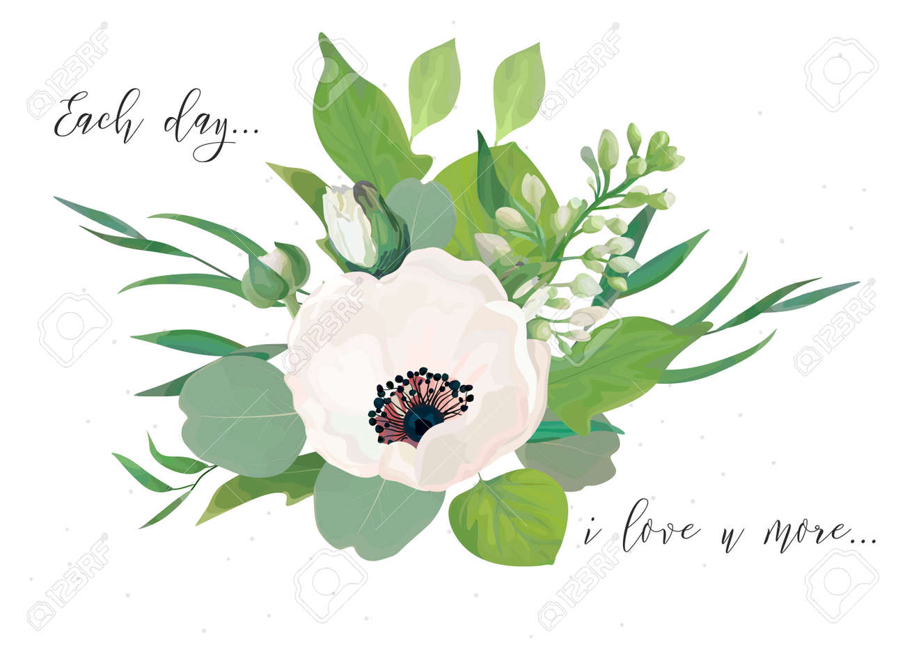Floral Card Design With Elegant Bouquet Of Pink Anemone Flowers Royalty Free Cliparts Vectors And Stock Illustration Image 96753383