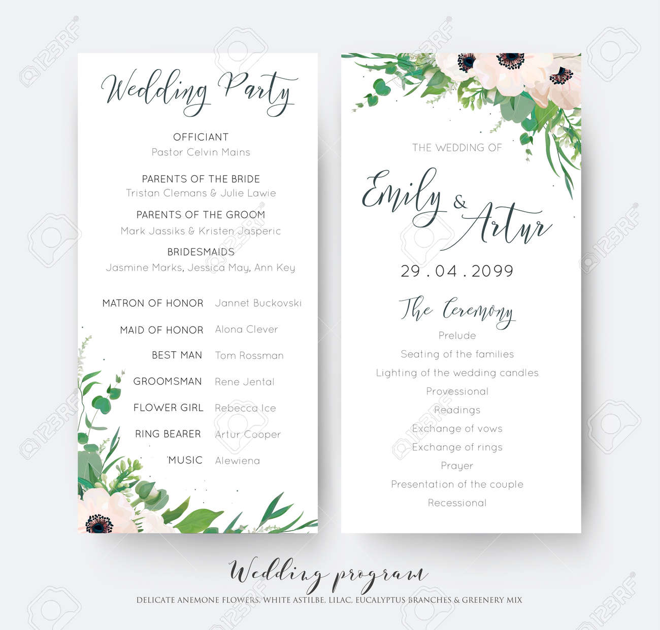 Wedding Ceremony And Party Program Card Elegant Design With Watercolor