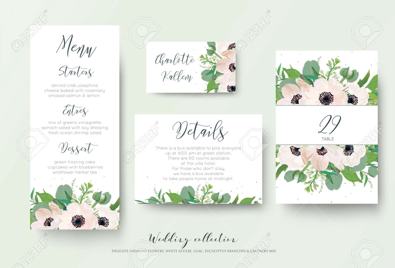 Wedding menu details information escort place card table vector wedding menu details information escort place card table number design with watercolor style light pink anemone flowers eucalyptus leaves mightylinksfo