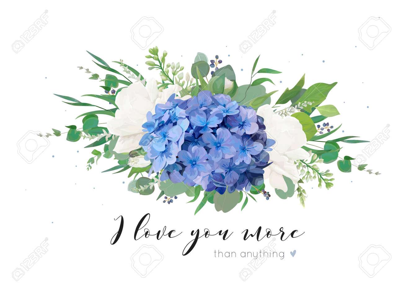 Blue Hydrangea and White Garden Rose Bouquet