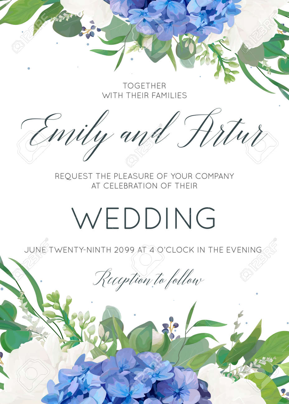 Wedding floral invite, invitation, card design with elegant bouquet of blue hydrangea flowers, white garden roses, green eucalyptus, lilac branches, greenery herbs, leaves, berries. Modern cute layout - 96980871