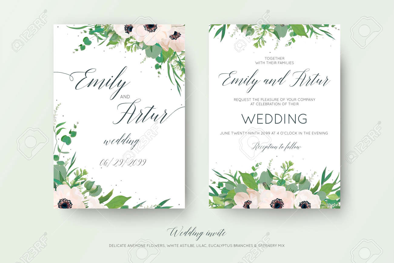 Elegant Wedding Invitation With Watercolor Art Style Floral