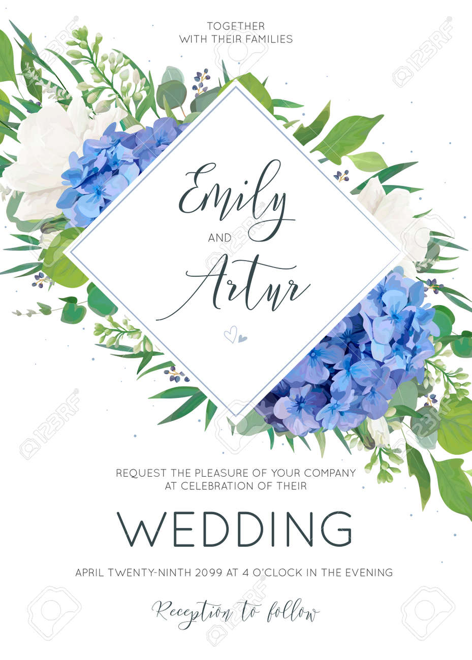 Elegant wedding invitation with watercolor art style floral designs. - 97101376
