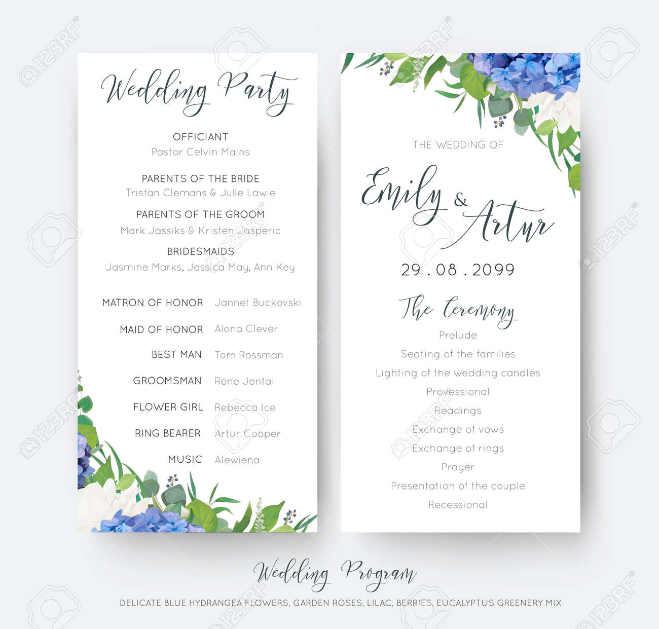 Wedding Floral Wedding Party And Ceremony Program Card With Floral