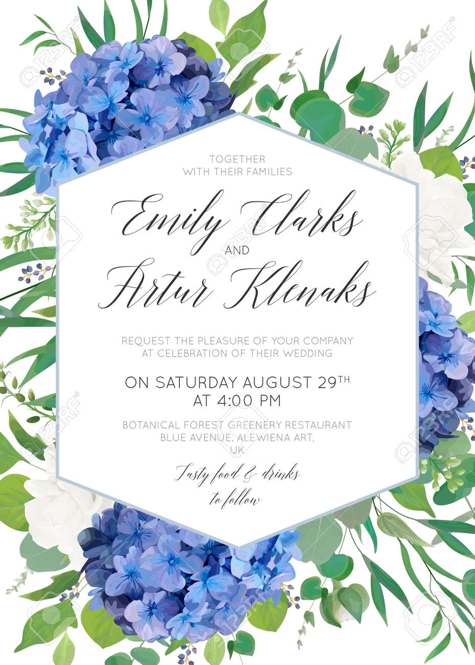 Wedding floral invite, save the date card design with elegant blue violet hydrangea flowers, white garden roses, eucalyptus green branches, greenery leaves, geometrical frame. Delicate cute template - 97147791