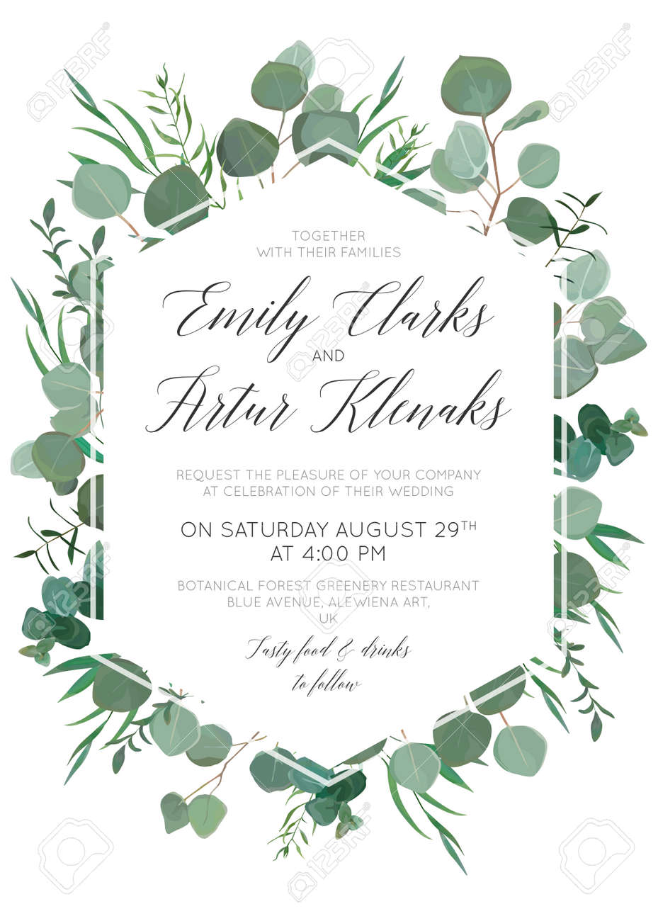 Wedding floral invite, invitation, save the date card design with elegant eucalyptus greenery branches, green forest leaves foliage, herbs & cute polygonal geometrical frame. Beautiful trendy template - 97716737