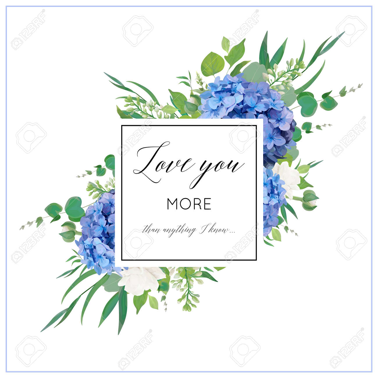 Vector floral card with elegant bouquet of blue hydrangea flowers, white garden roses, green eucalyptus, lilac branches, greenery leaves berries & square copy space. Wedding invite, greeting - 97729461