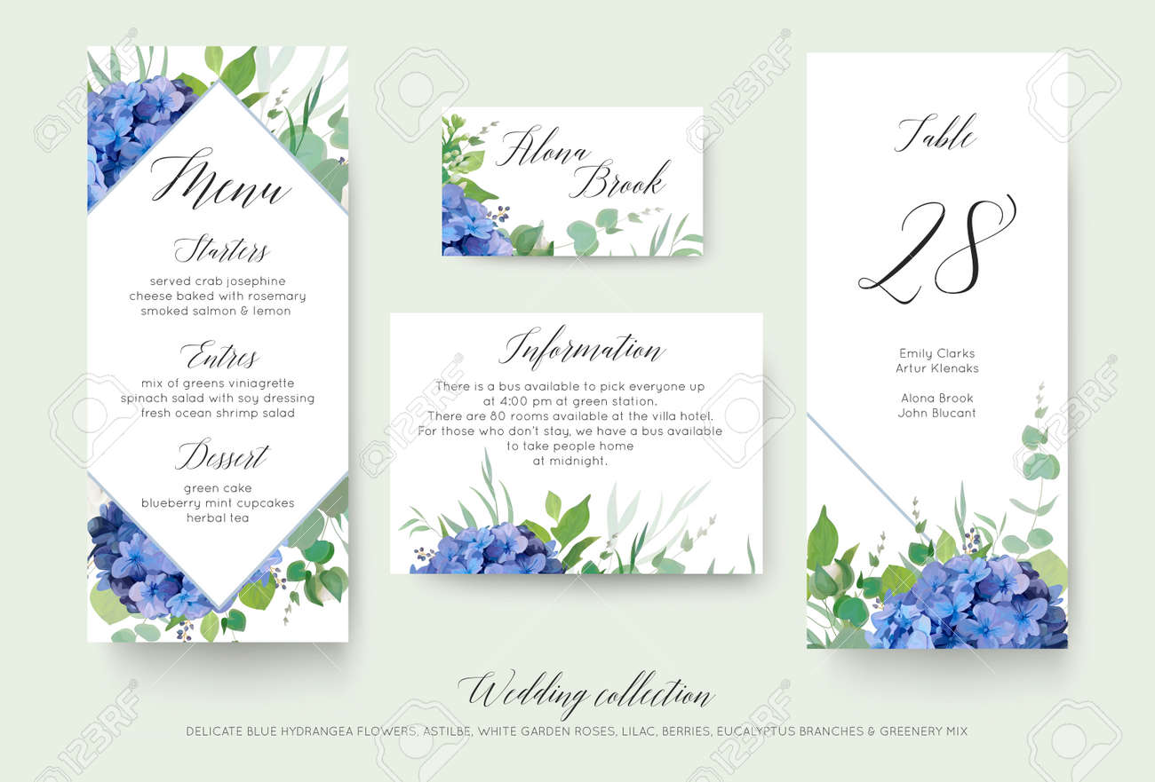Wedding floral personal menu, place, information, table number card design set with elegant blue hydrangea flowers, white garden roses, green eucalyptus, lilac branches, greenery leaves & cute berries - 97716743