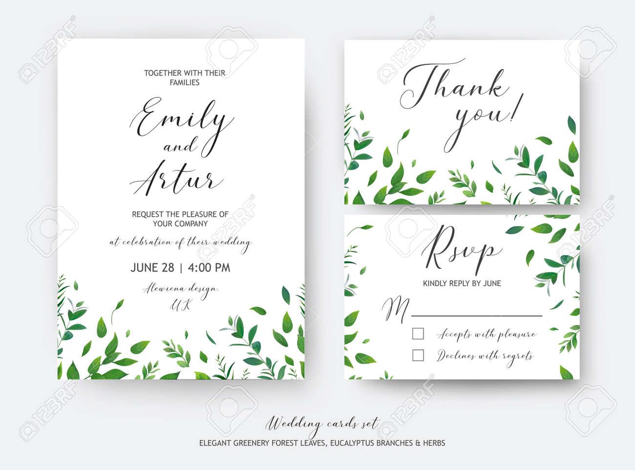 Wedding Invite, Invitation, RSVP, Thank You Cards Vector Art ...