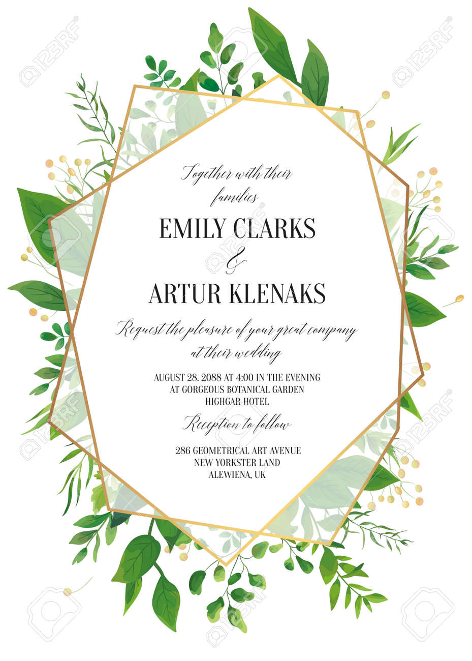 Wedding Invitation Floral Invite Save The Date Modern Card Design