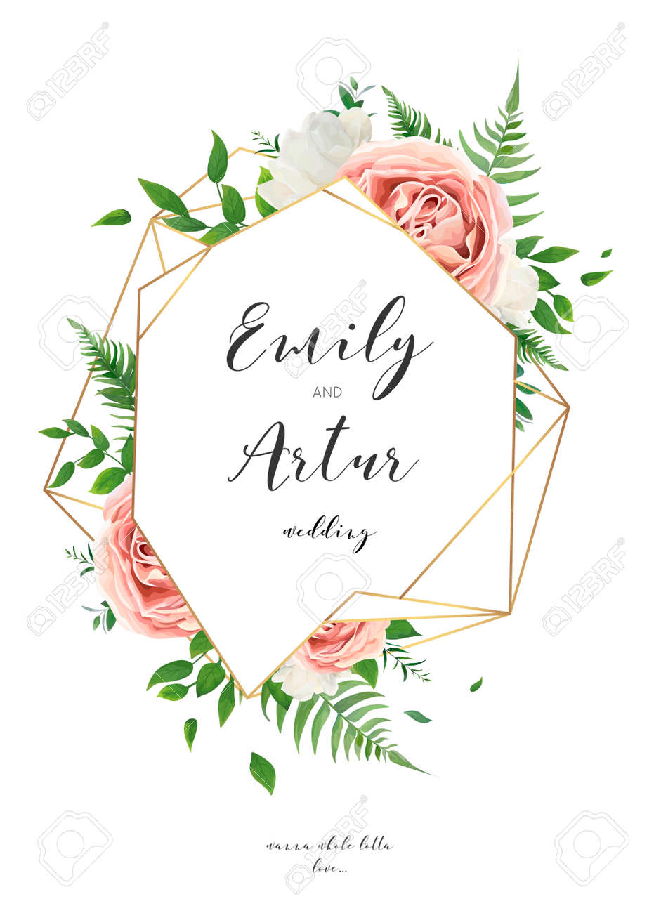 Wedding invitation, floral invite card design with creamy white garden peony flowers, blush pink roses, green leaves, greenery fern and golden geometrical frame decoration. Vector elegant illustration - 102514154