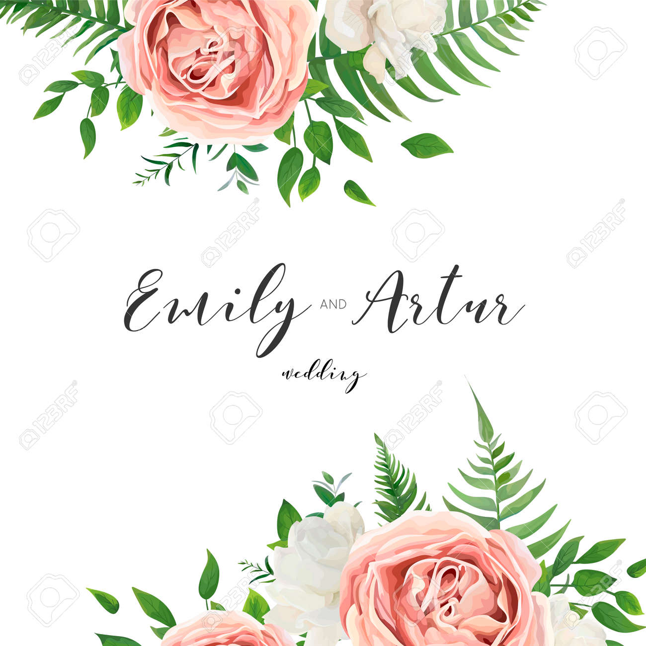 Wedding vector invitation floral invite card with watercolor vector wedding vector invitation floral invite card with watercolor style blush pink garden roses white peony flowers green eucalyptus tree leaves stopboris Gallery