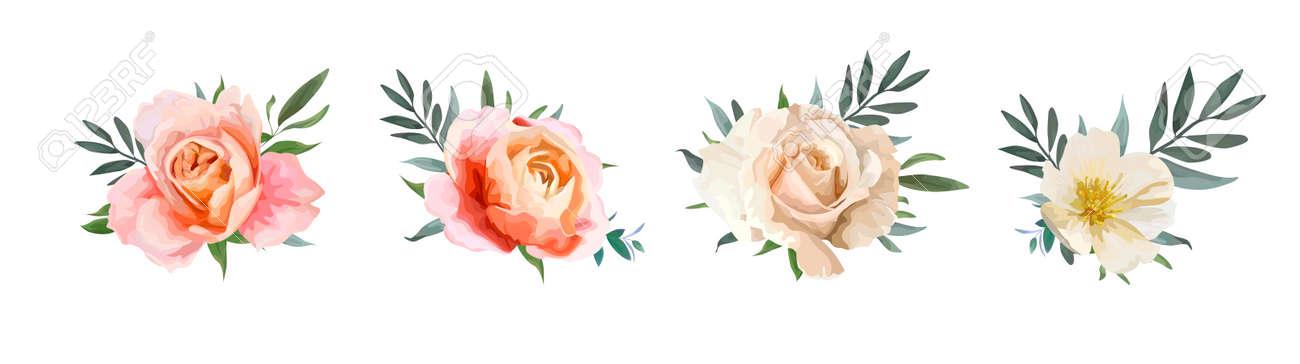 Vector Floral Bouquet Design Garden Pink Peach Creamy Pale