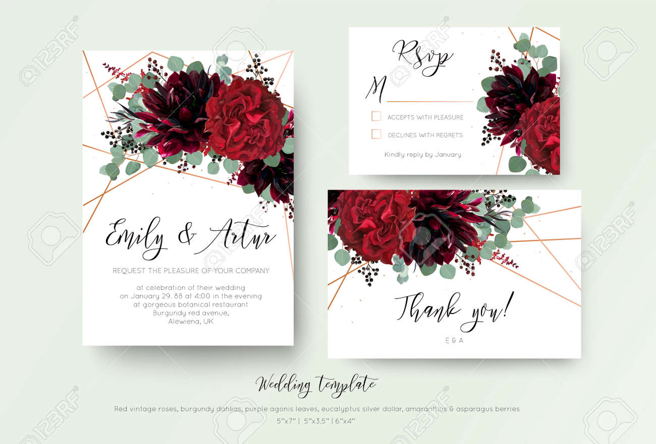 Wedding invite invitation, rsvp, thank you card floral design. Red rose flower, burgundy dahlia, eucalyptus silver dollar branches, berries wreath with rosy copper geometrical decoration. Bohemian set - 112204465