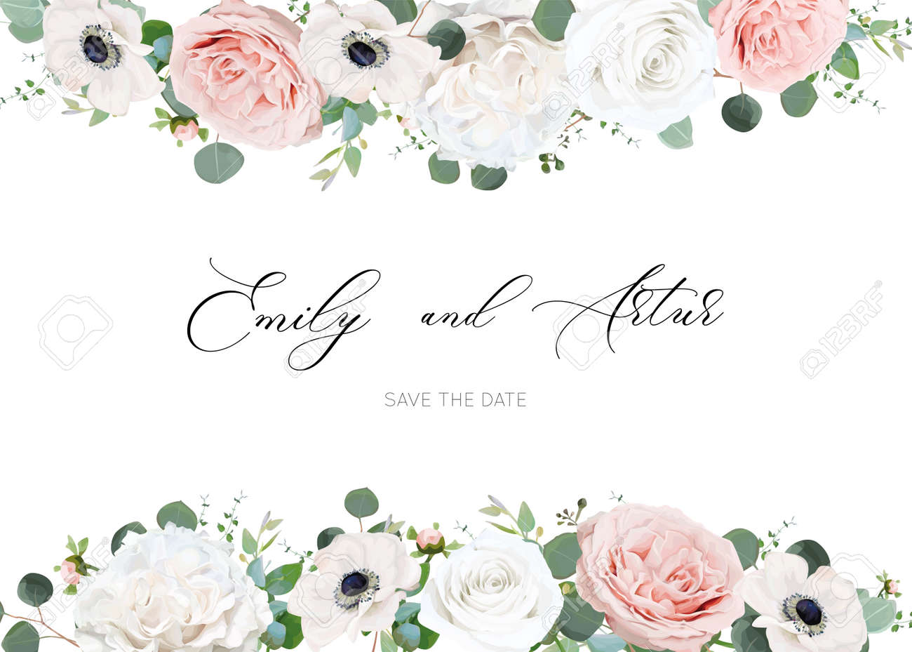 White ivory and blush peach stylish wedding invite design template - 156625025