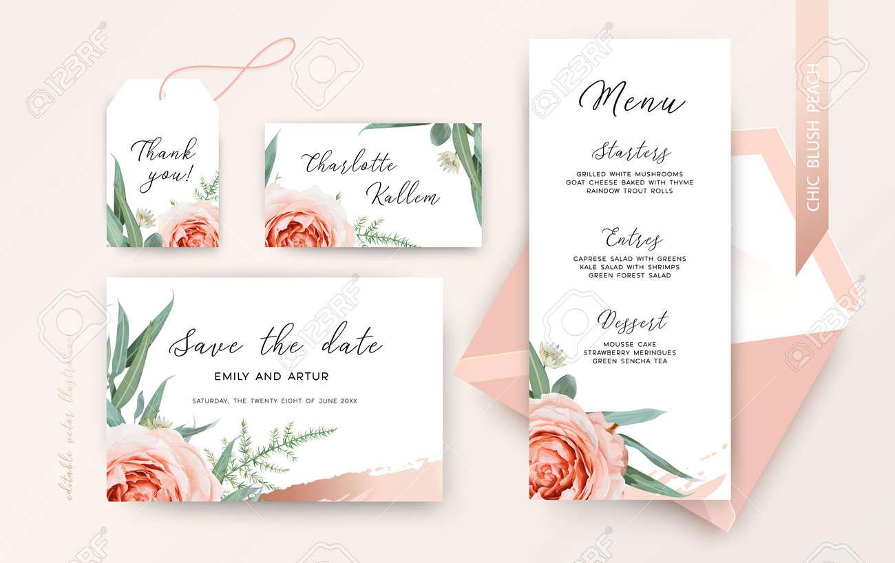 Elegant vector wedding invitation with flowers - 167523590