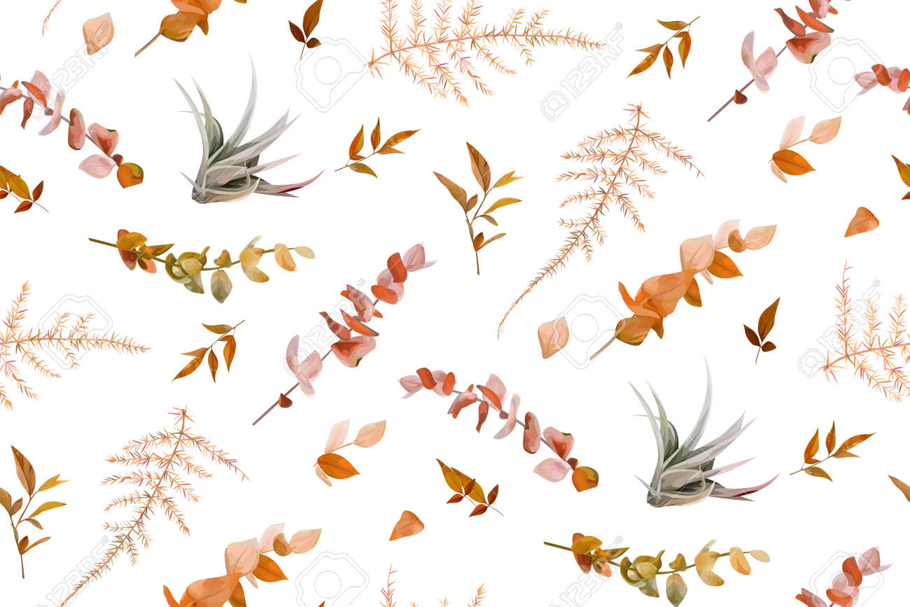 Vector autumn seamless pattern with mix of cute fall burnt orange red eucalyptus branches, taupe natural succulent leaves, beige brown asparagus fern. Wallpaper, textile fabric, paper template design - 167020149