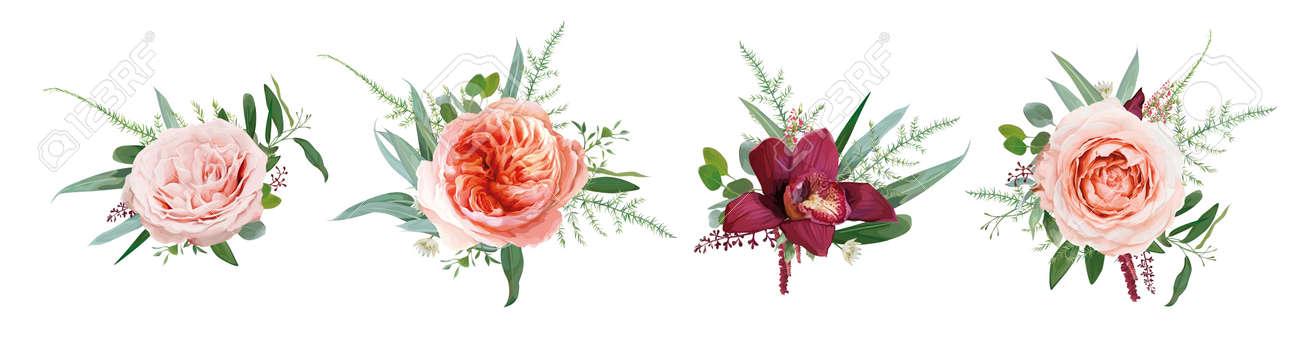 Vector floral bouquet design: pale coral Juliette rose flower, dusty pink, peach roses, burgundy red orchid, amaranth, Eucalyptus branch greenery leaf, tender fern. Wedding card watercolor element set - 167020150
