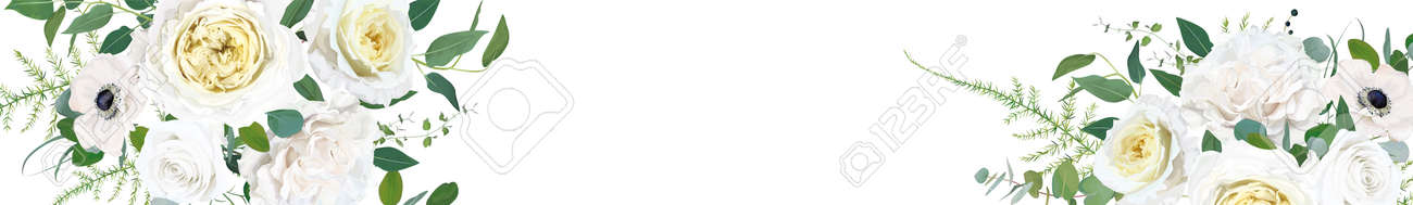 Floral, elegant full elements editable website banner design. Vector illustration: watercolor tender cream yellow Rose, white anemone, ivory wax flowers, eucalyptus green leaves, fern greenery bouquet - 164770723
