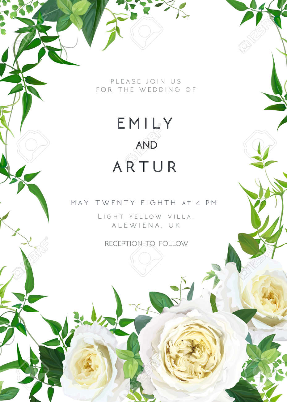 Trendy, greenery wedding floral vector invite, holiday invitation card. Light yellow garden roses flowers, tender smilax greenery leaves, vines, herbs, plants bouquet. Decorative frame, natural border - 166250017