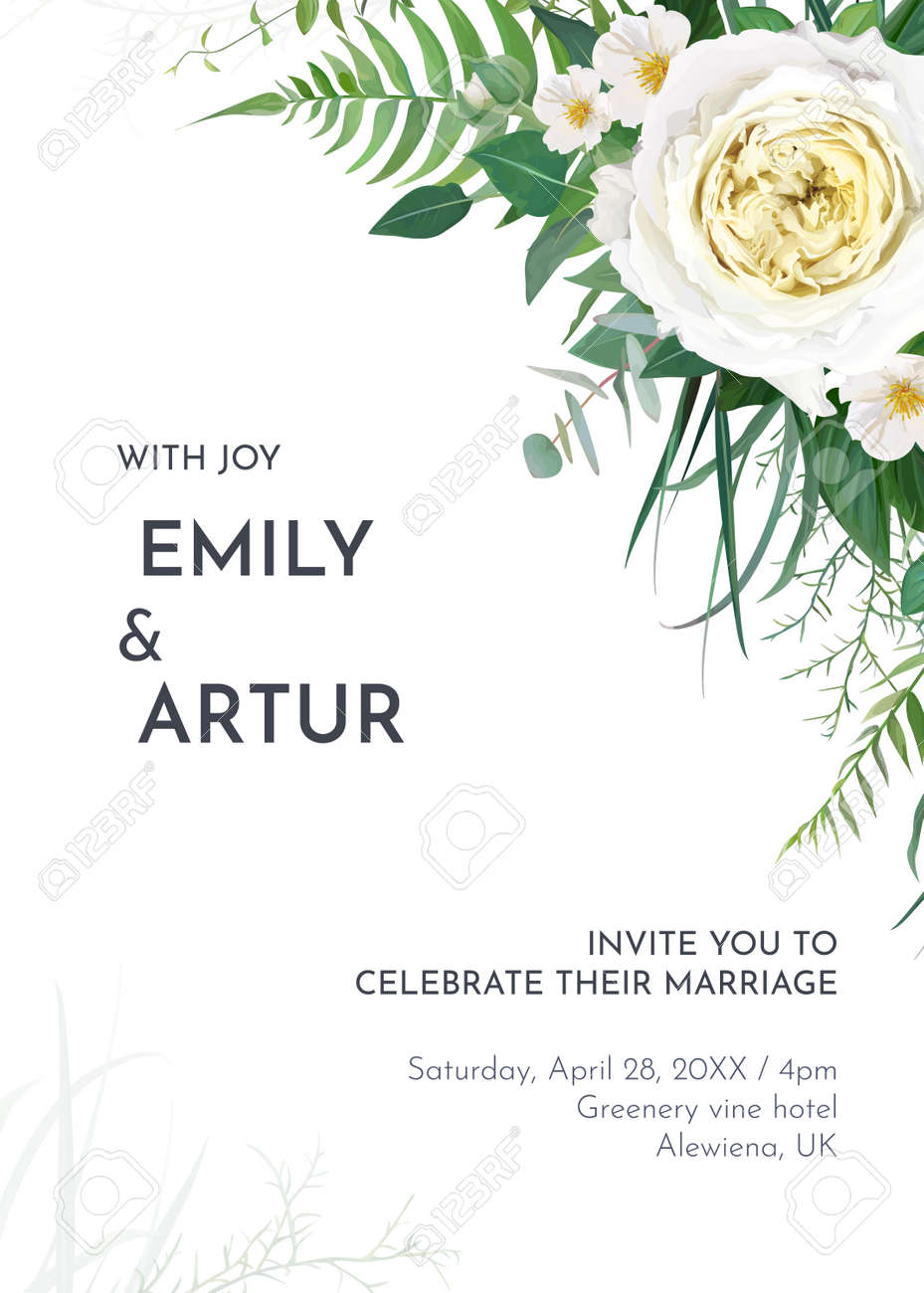Tropical greenery floral wedding invite, save the date card template. Green fern leaves, tender eucalyptus, light yellow roses and white camellia flowers bouquet border. Editable watercolor vector art - 166355208