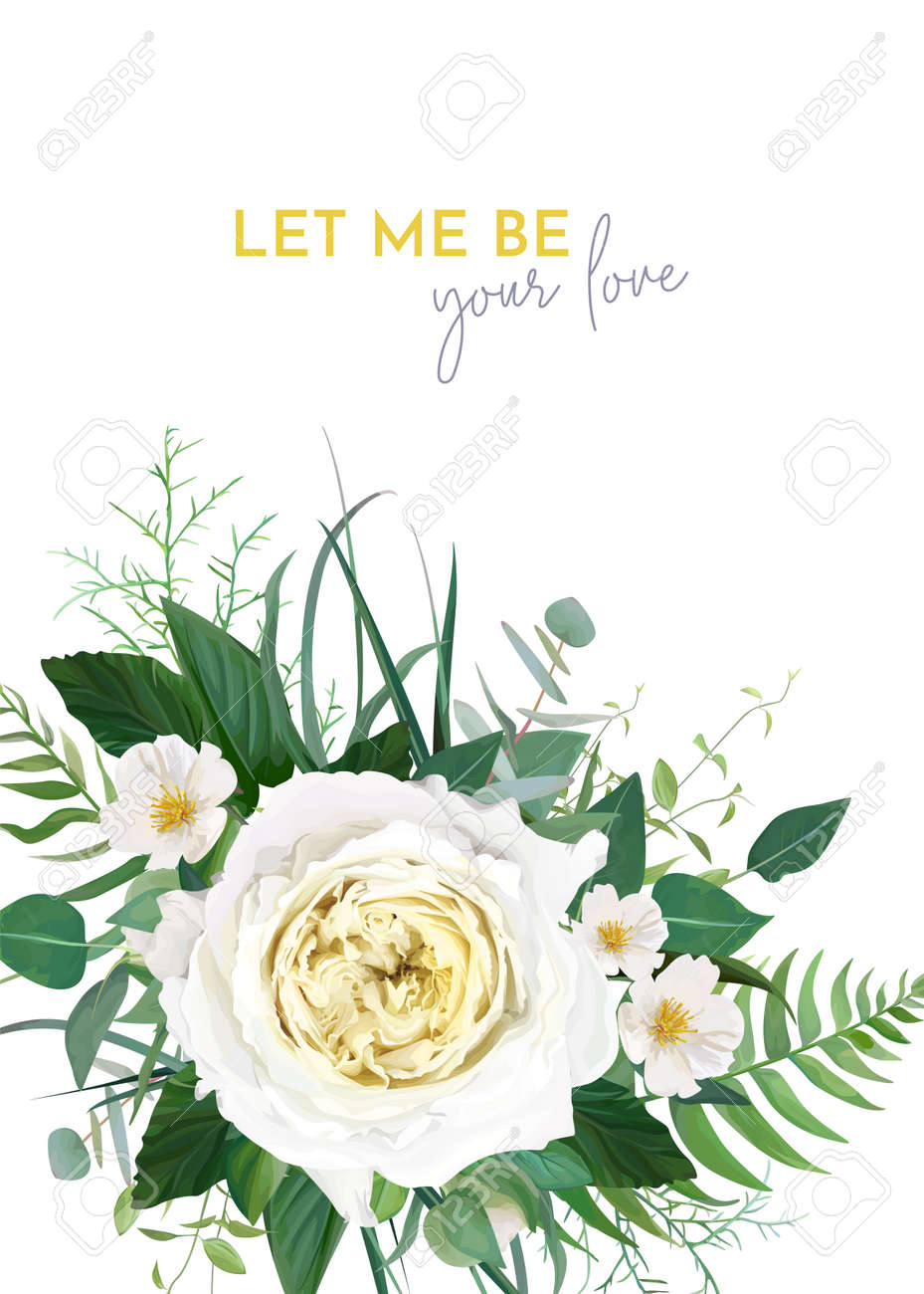 Stylish trendy vector floral wedding invite, save the date card, greeting, poster, banner template design. Yellow rose, white camellia flower, greenery, fern leaf, green eucalyptus branches decoration - 167304699