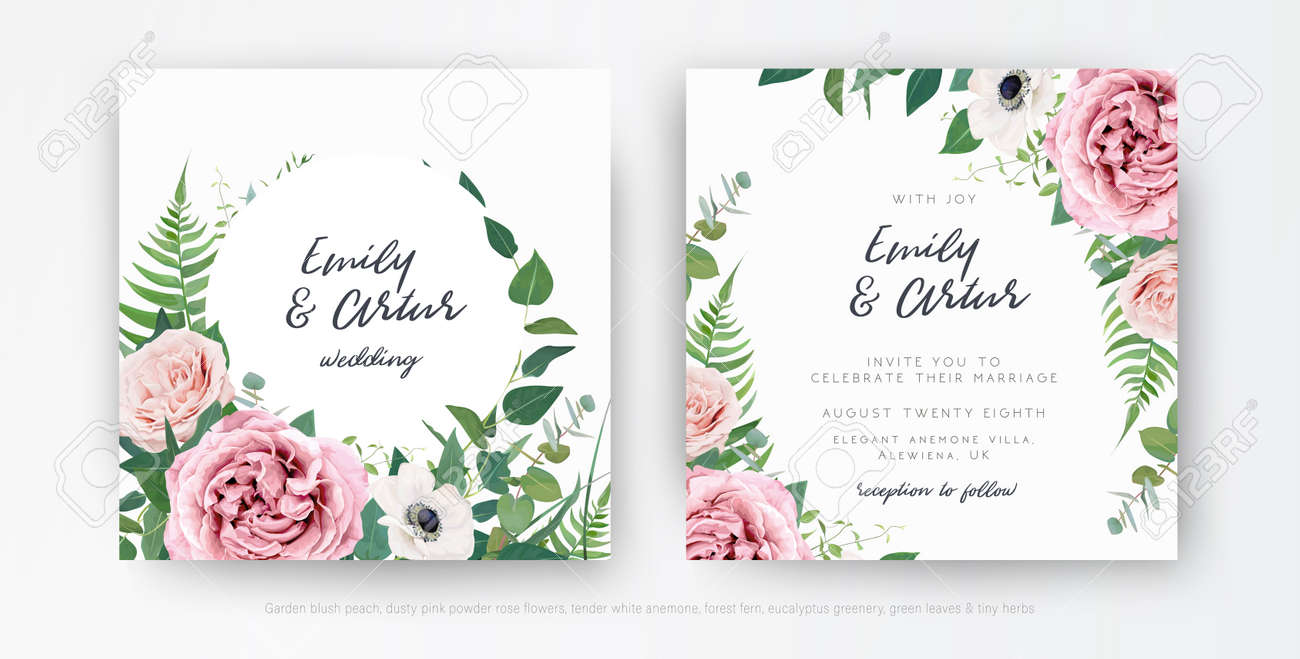 Stylish elegant vector floral watercolor wedding invite, greeting card, save the date template set. Dusty pink, mauve rose, white anemone flowers, eucalyptus leaves, greenery, green fern wreath, frame - 167430981