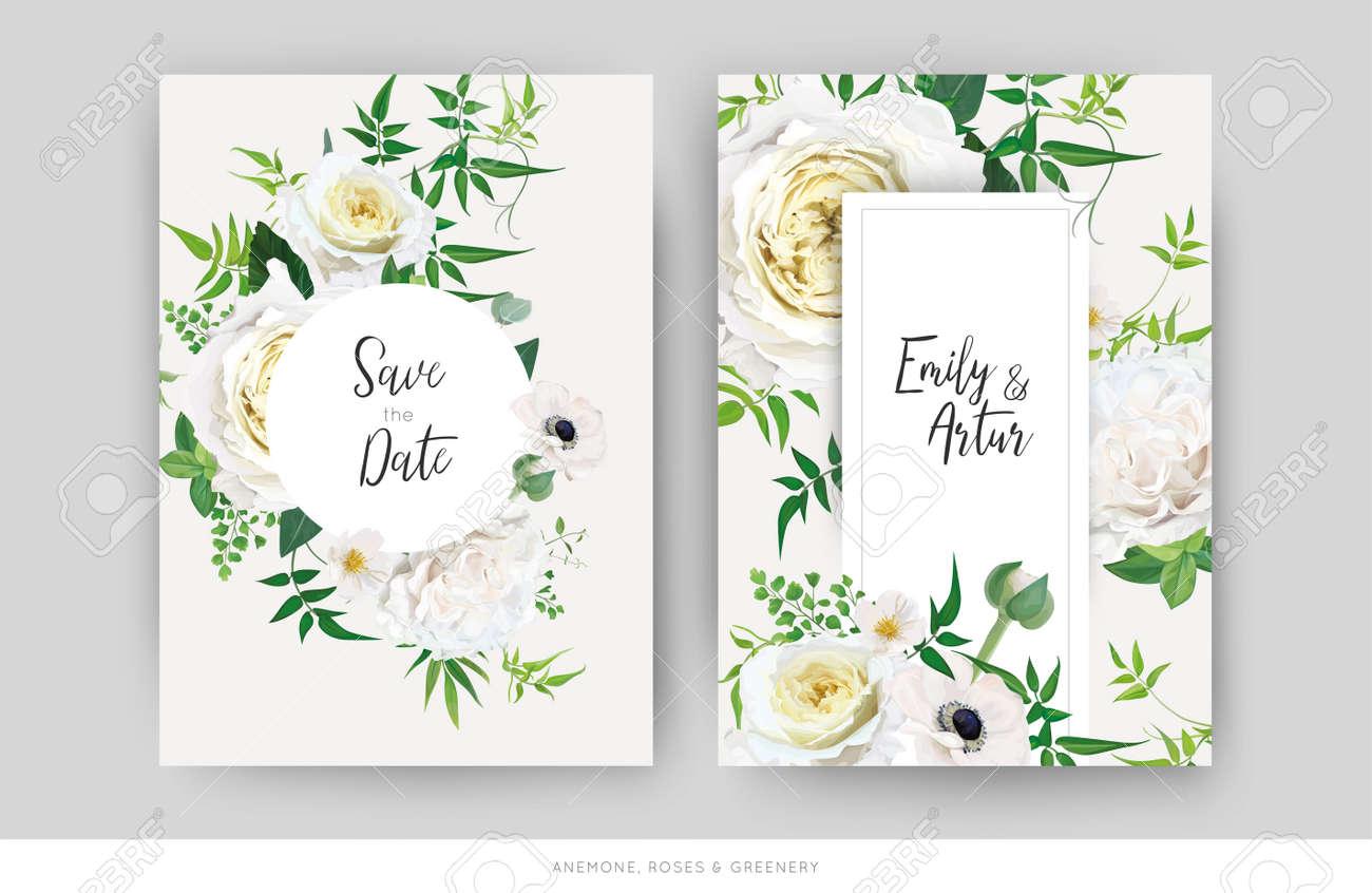 Tender floral vector wedding invite, save the date card template design set. Elegant editable watercolor bouquet illustration. Trendy yellow white roses, anemone flower, green jasmine vine, greenery. - 170234870