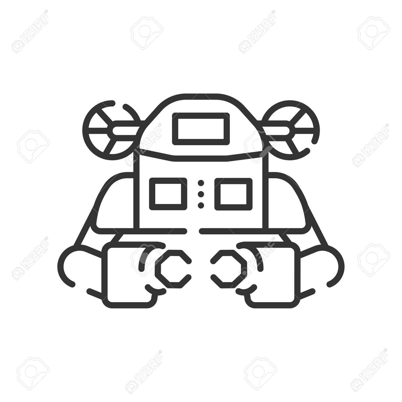 Underwater robot black line icon. Aquanaut, an autonomous electric submarine. Innovation in technology. Sign for web page, app. UI UX GUI design element. Editable stroke - 137467037
