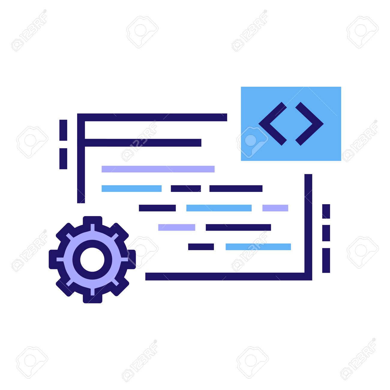 It Courses Color Line Icon Programming Coding Learning Software Royalty Free Cliparts Vectors And Stock Illustration Image 141865736