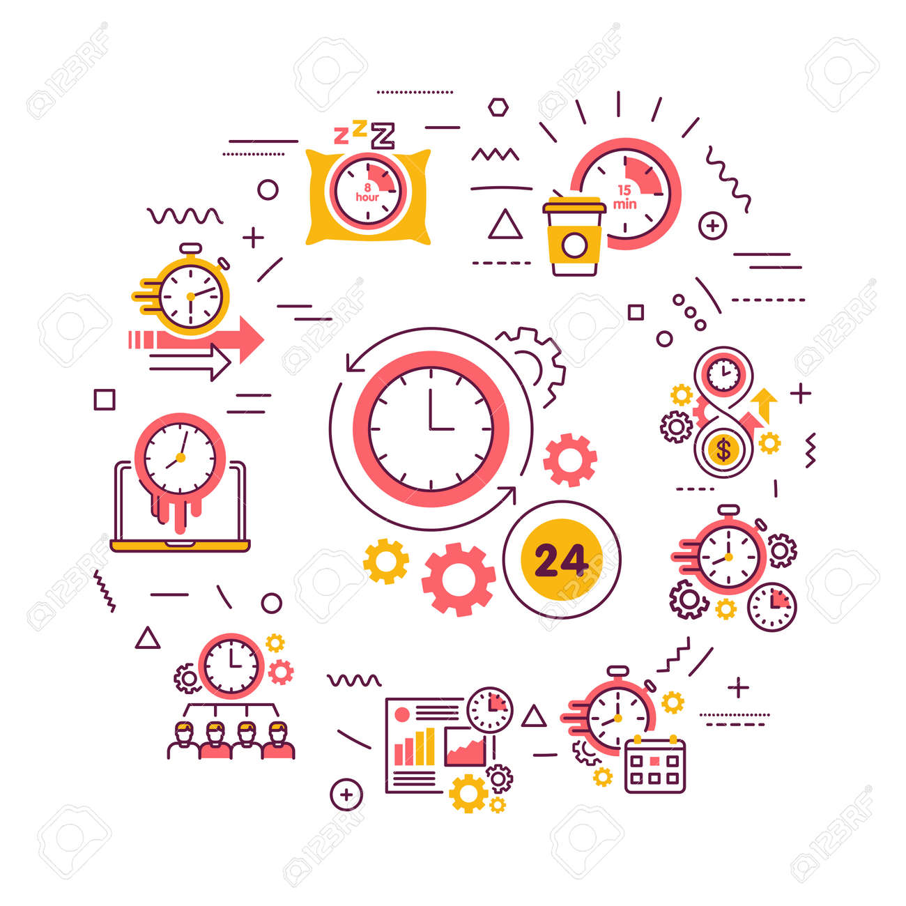 Time Management Web Banner Planning And Control Of Working And Royalty Free Cliparts Vectors And Stock Illustration Image 142504469