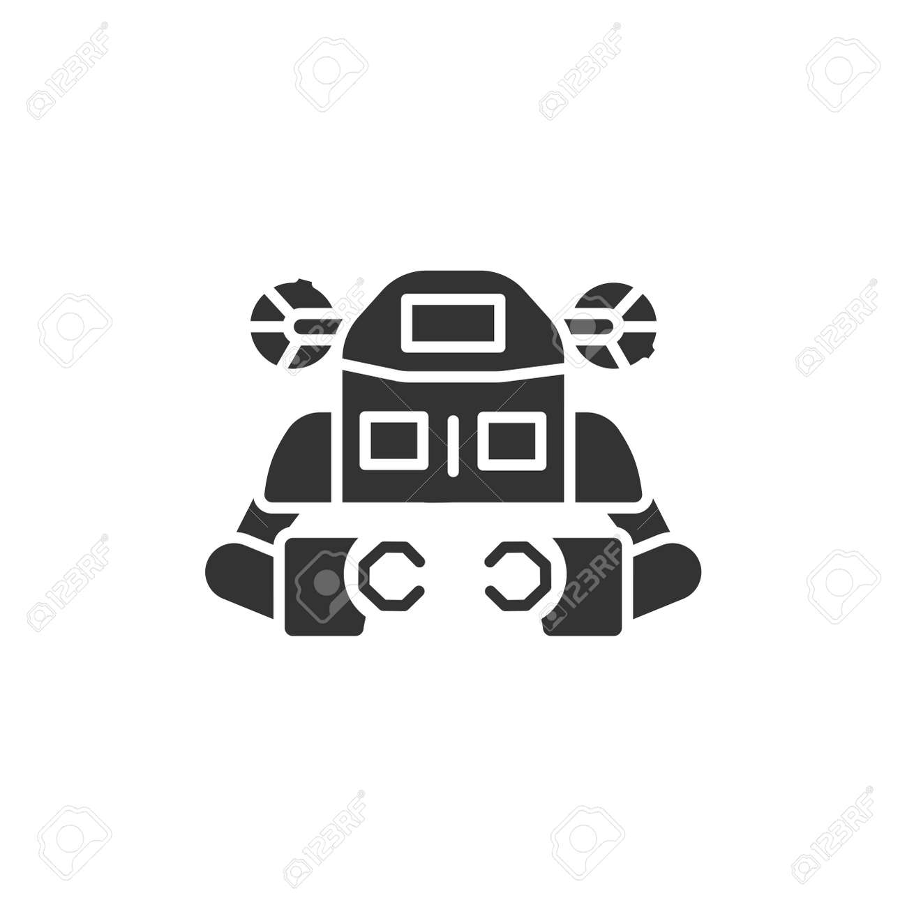 Underwater robot black glyph icon. Aquanaut, an autonomous electric submarine. Innovation in technology. Sign for web page, app. UI UX GUI design element - 151313639