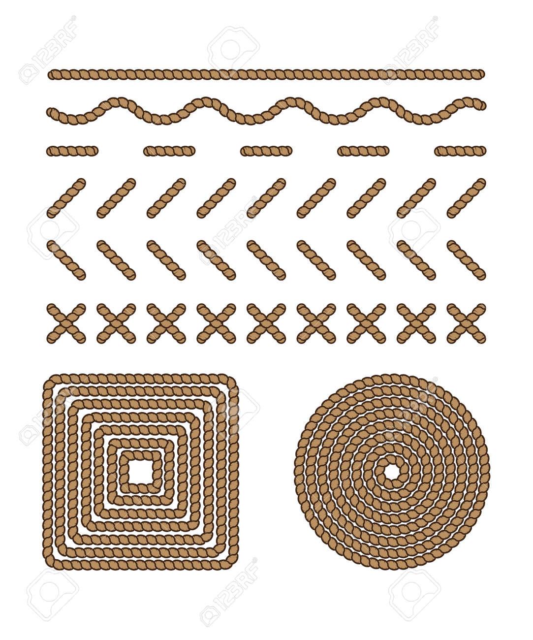Style-Set Vorlage Stich Und Rahmen In Form Seil, Faden. Grafik ...
