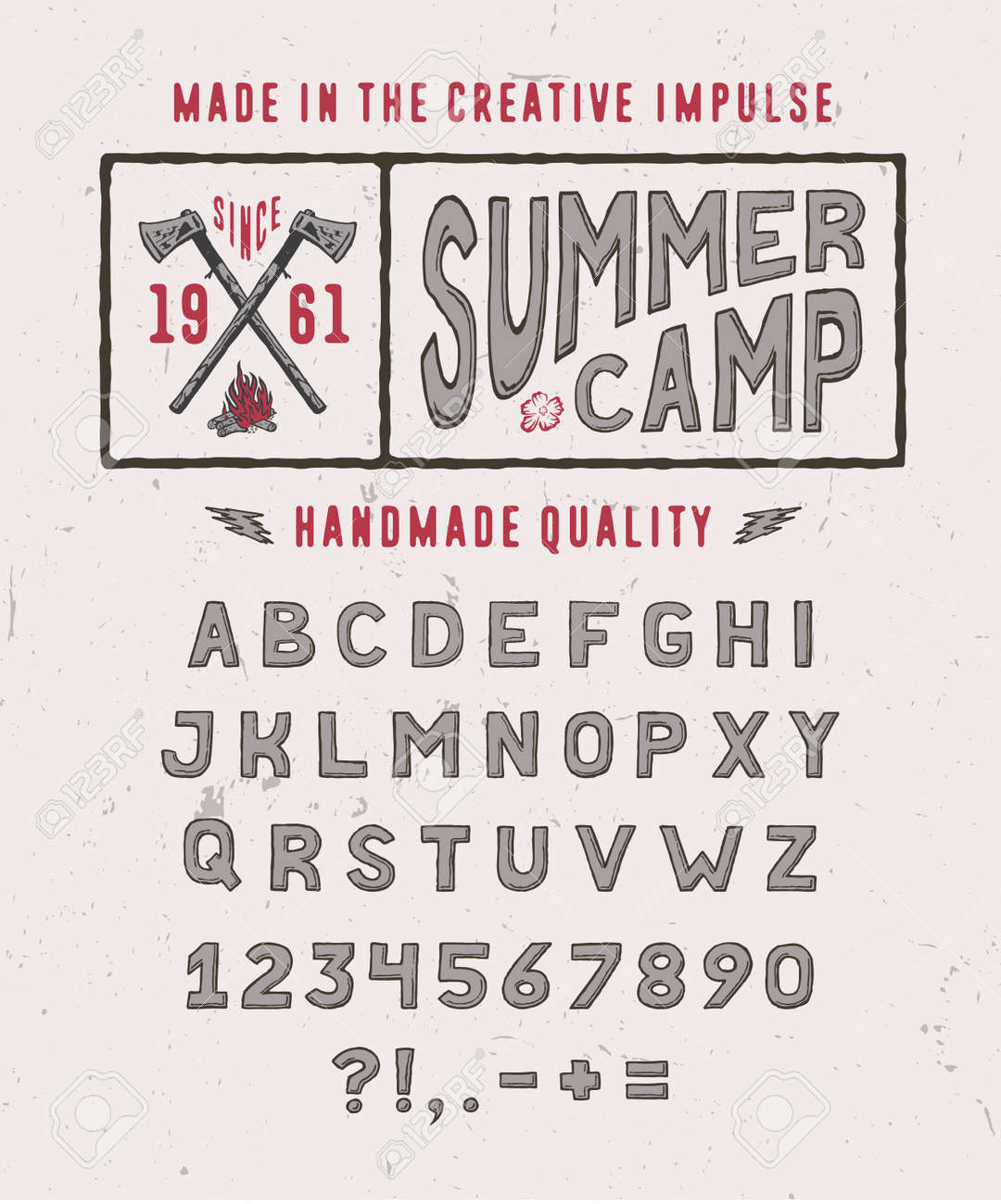 SUMMER CAMP FONT Crafted Retro Vintage Typeface Design Original Hand Made Lettering Type Alphabet On