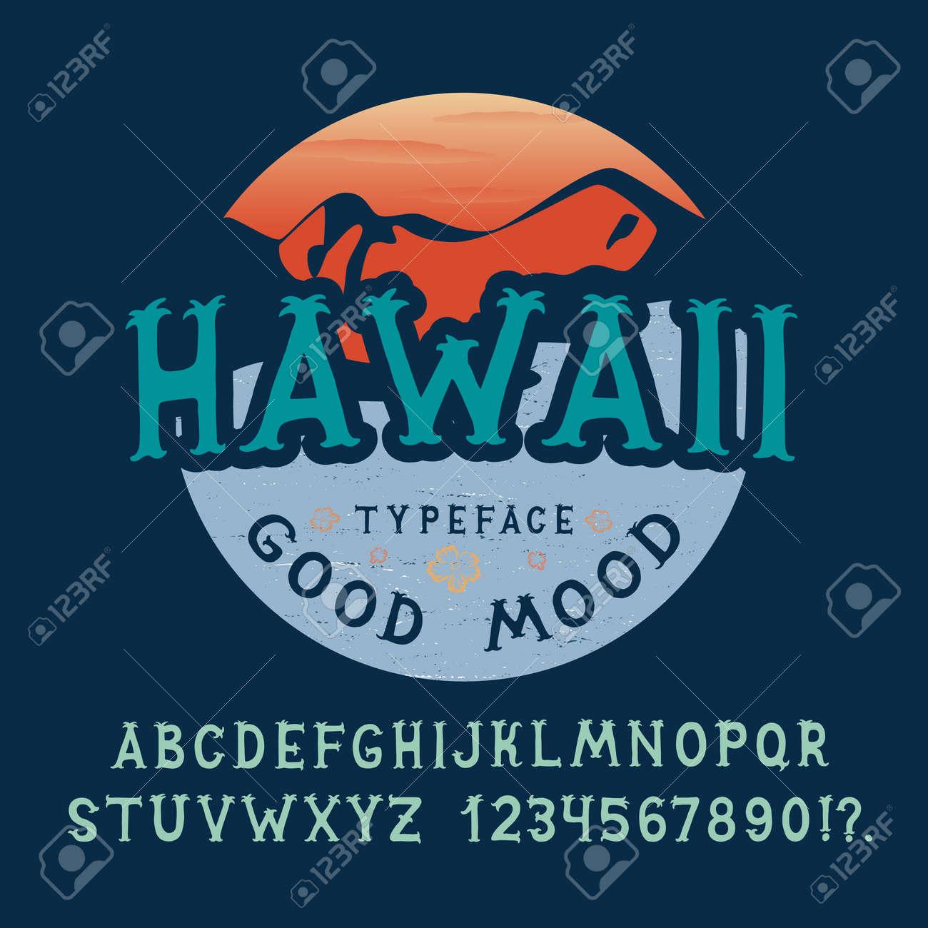 Fuente De Hawaii Hechos A Mano Diseño Retro Tipografía De época