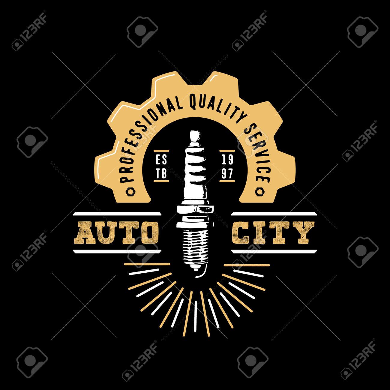 Auto City Logo Drawn Spark Plug Gear Half Gear Hand Crafted