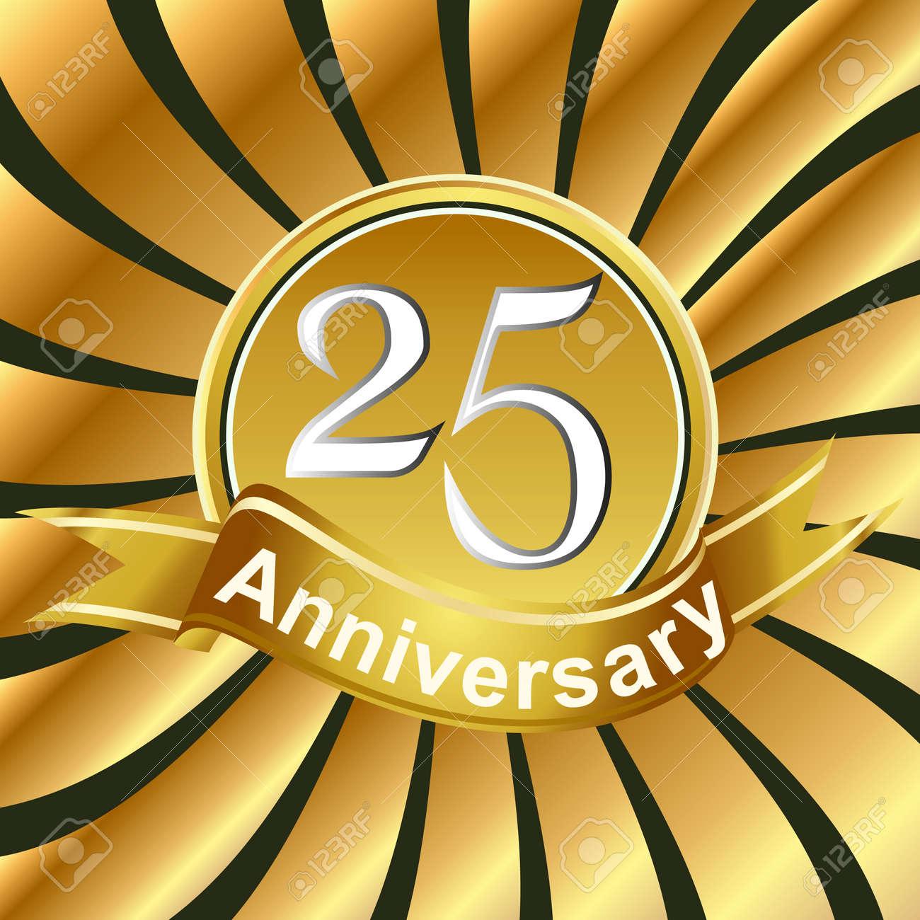 25th anniversary ribbon logo with golden rays of light royalty free rh 123rf com 25th Anniversary Decorations 25th Anniversary Seal
