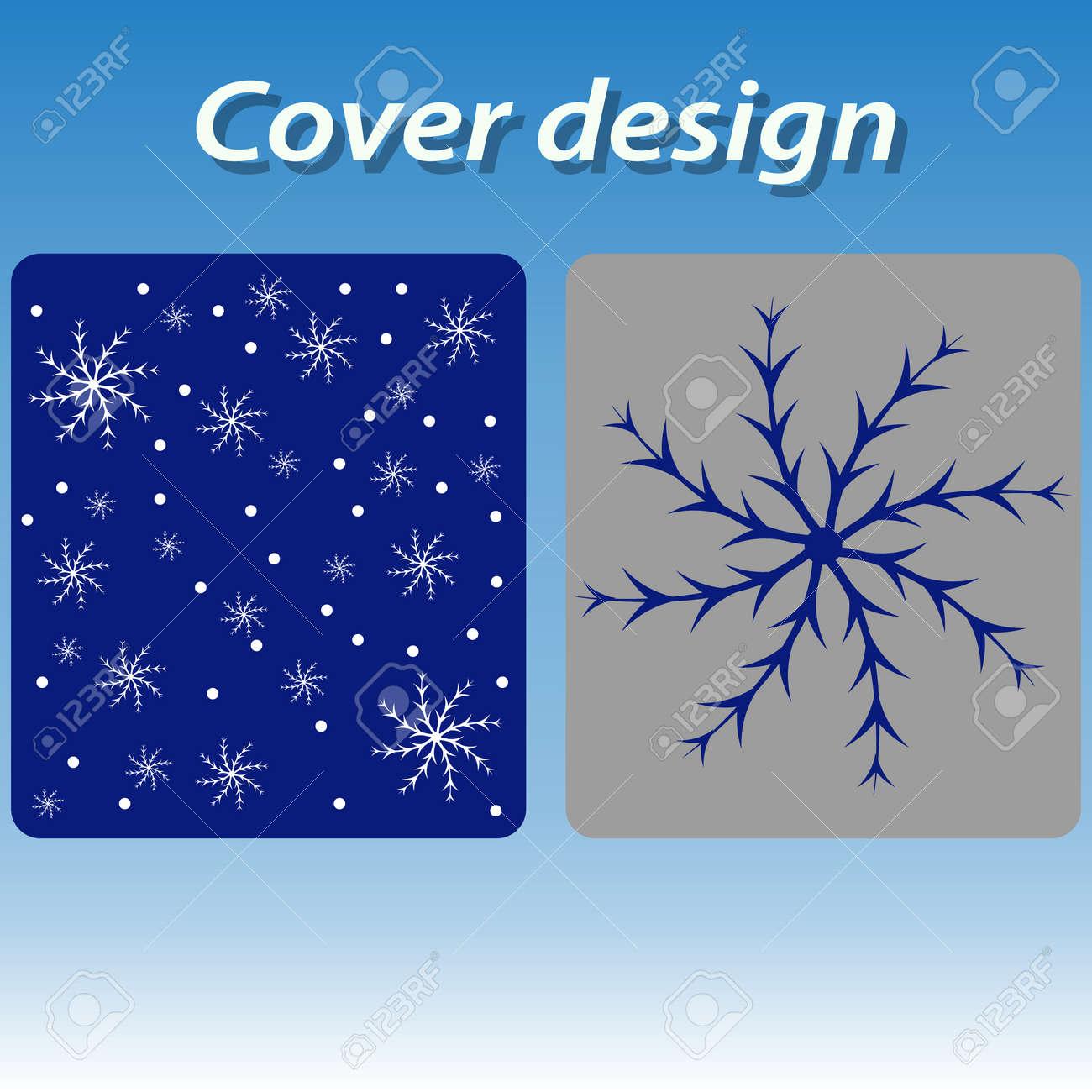Diseño De Portada Para Imprimir Con Copos De Nieve Azules