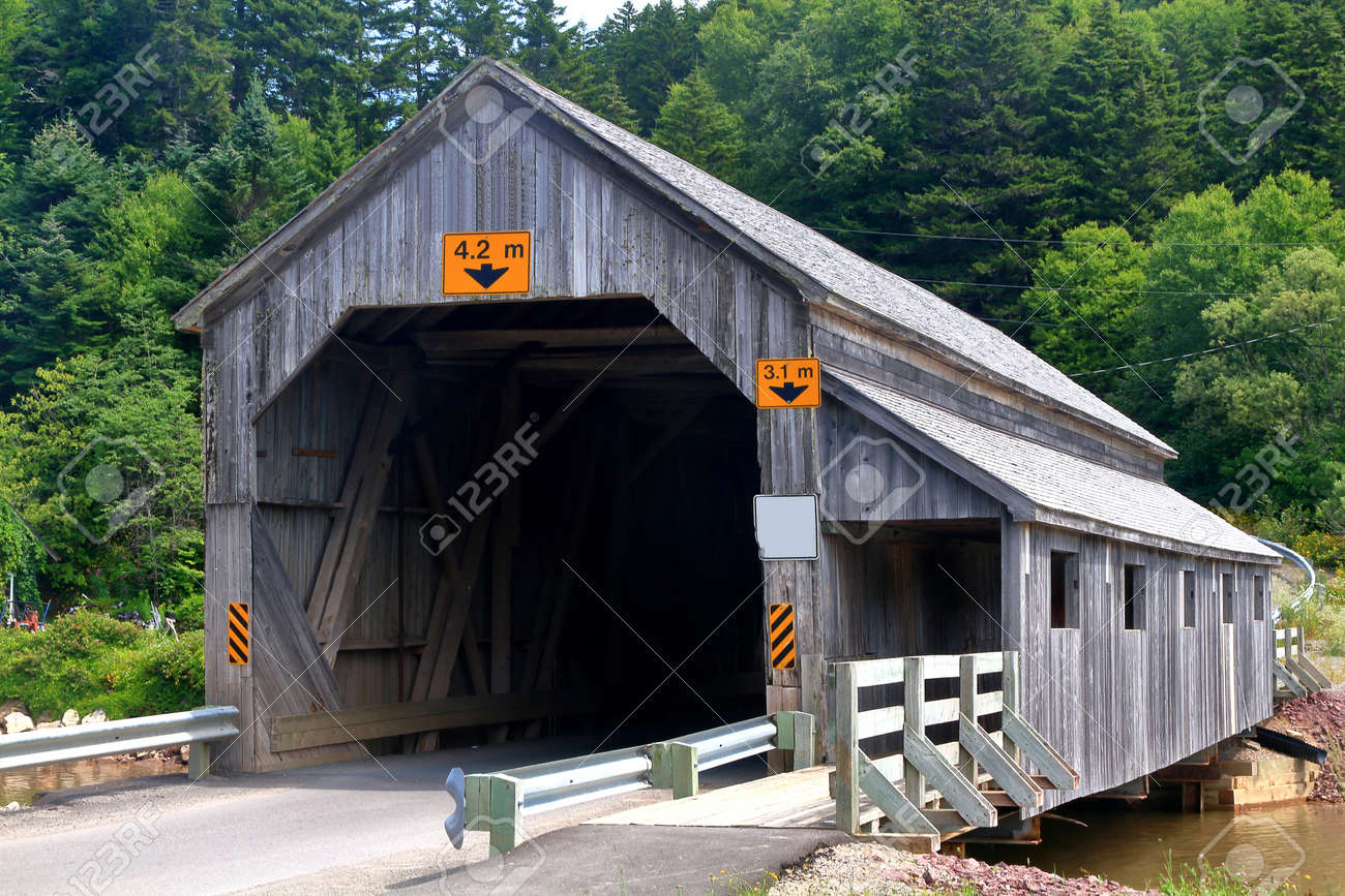 Covered Wooden Bridge Irish River Number 2 In St Martins New