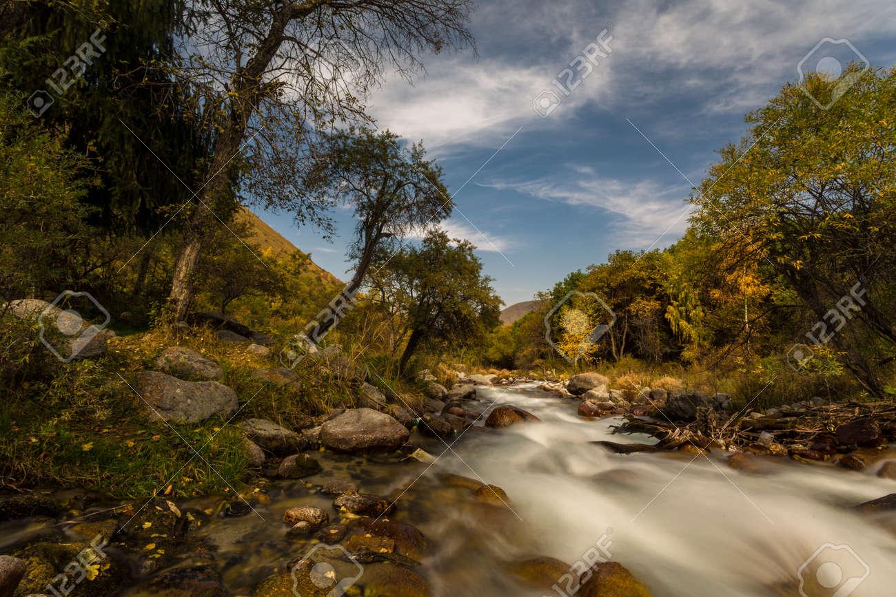 autumn landscape mountain river Stock Photo - 24036606