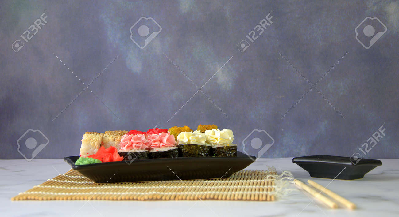 Traditional Japanese Food A Sushi Set With Ginger And Wasabi