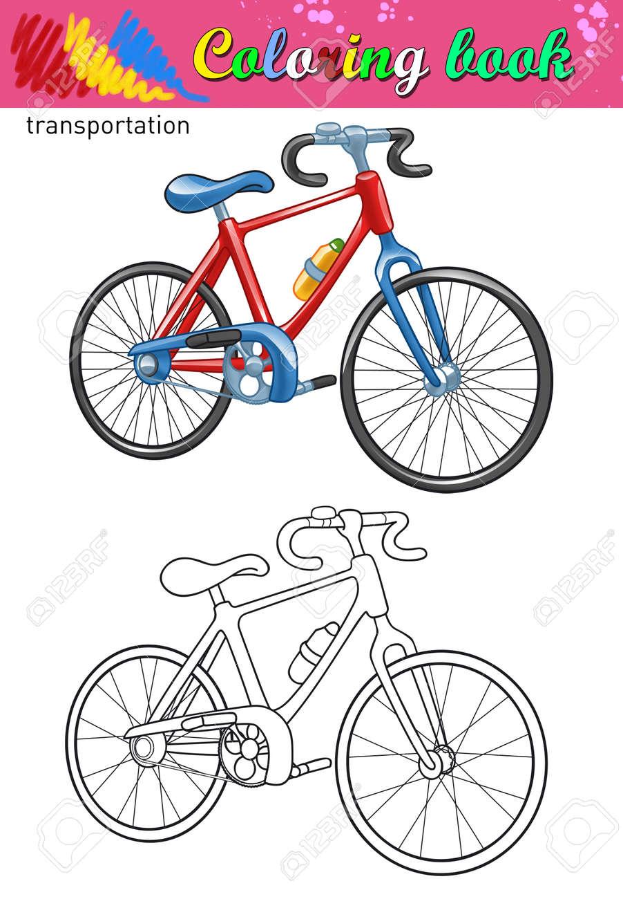 Colorear De Bicicleta. Libro Para Colorear Para Los Niños. Color De ...